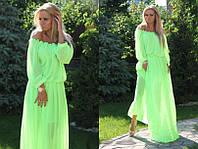Летнее шифоновое платье с рукавом 3/4 и открытыми плечами в неоновых расцветках 654