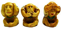 """Статуэтка под слоновью кость """"Три обезьяны"""""""