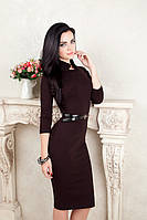 Деловое трикотажное платье футляр с черным кружевом