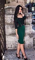 Платье-футляр с кружевным декором