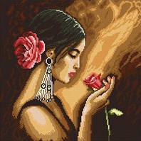 Рисование камнями на холсте Lasko Испанка с цветком (TL013) 39,5 х 39,5 см
