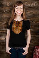 Жіноча футболка з вишивкою Мережка оранж