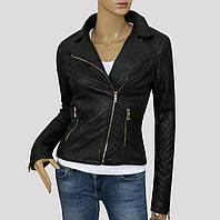 Стеганная женская весенняя куртка-косуха кожаная