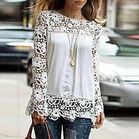Новинка! Модная блуза для женщин, украшенная кружевом, с длинным рукавом, цвет - белый