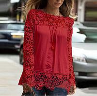 Новинка! Модная блуза для женщин, украшенная кружевом, с длинным рукавом, цвет - красный