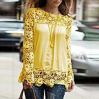 Новинка! Модная блуза для женщин, украшенная кружевом, с длинным рукавом, цвет - желтый
