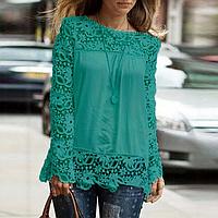 Новинка! Модная блуза для женщин, украшенная кружевом, с длинным рукавом, цвет - зеленый