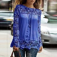 Новинка! Модная блуза для женщин, украшенная кружевом, с длинным рукавом, цвет - синий