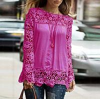 Новинка! Модная блуза для женщин, украшенная кружевом, с длинным рукавом, цвет - розовый