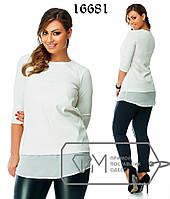 Элегантная молодежная блуза батал «Селми» мод ОЛ180