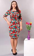 Платье Цветочный принт р.48-50-52-54 V182