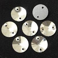 Стразы пришивные Риволи (круг) d12 мм Crystal, стекло