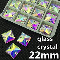 Стразы пришивные Квадрат 22 мм Crystal AB, стекло