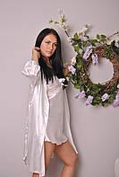 Шелковый белый пеньюар с халатиком 50518