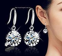 """Серьги """"Лилит"""" покрытие серебро 925 проба, с кристаллами."""