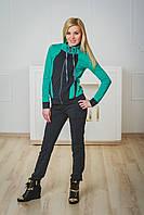 Спортивный костюм женский темно-серый+мята, фото 1
