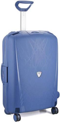 Пластиковый легкий средний чемодан-тележка 70 л. 4-колесный Roncato Light 500712/33 синий