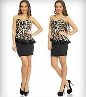 Женское стильное  платье  с баской