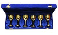 Бокалы бронзовые позолоченые (н-р 6 шт)(h-11 см)(46х15х7 см)(Velvet Box-Goblet Med-5 Designs GOLD)