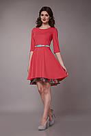 Нарядное женское платье с двойной юбкой коралловое