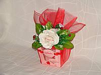 """Коробка Raffaello """"С 1 белой розой"""""""