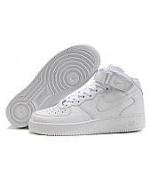 Кроссовки Женские Nike Air FORCE Mid 1 All White (Premium)