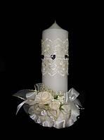 """Свеча """"Цветы"""" ручной работы шампань ."""