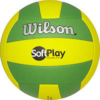 Мяч волейбольный Wilson Soft Play VolleyBall Green/Yelow р. 5 (WTH3501XBGRYE)