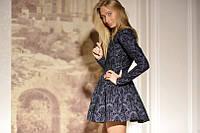 Стильное джинсовое платье в цветах с юбкой солнце (4 цвета) 156