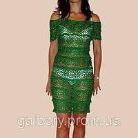 """Вязаное кружевное платье с ажурными принтами""""фестоны""""изумрудно-зеленого цвета"""
