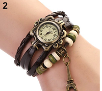 Женские кварцевые наручные часы-браслет в ретро-стиле с подвеской Эйфелева башня, цвет - коричневый