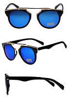 """Женские солнцезащитные очки, ретро - """"глаза кошечки"""", темно-синий цвет линз"""