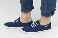 """Текстильные повседневные женские кеды """"Синие белый шнурок"""" 41 размер"""