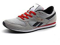 Кроссовки мужские серые летние Reebok сетка текстиль спортивные шнурок, фото 1