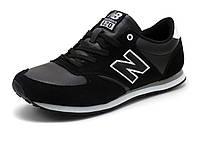 Кроссовки черные мужские кожаные отделка нубук спортивные New Balance, фото 1