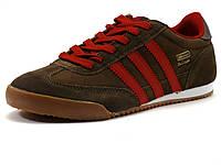 Кроссовки Demax Design мужские, замшевые, коричневые/ красные вставки, фото 1
