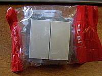 Выключатель двойной без рамки EL-BI, ZENA белый