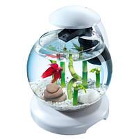 Tetra Cascade Globe White аквариум для петушка или золотой рыбки белый, 6,8л