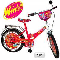 Велосипед для девочек 2-х колесный 18 дюймов  Winx