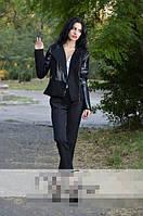 Пиджак черный кожа+кашемир