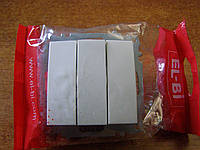 Выключатель тройной без рамки  El-Bi ZENA  белый