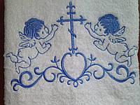 Крыжма 100Х150 с голубой вышивкой (большая)