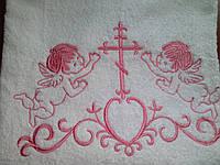 Крыжма 100Х150 с розовой вышивкой (большая)