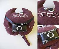 Дизайнерская игрушка Кот Фотограф фиолет