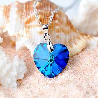 "Кулон ""Сердце океана"" от Swarovski, цвет сине-голубой"