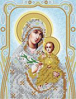 """Схема для вышивки бисером на атласе икона """"Богородица Неувядаемый цвет"""" (серебро)"""