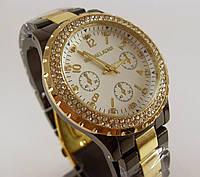 Женские наручные часы Michael Kors MKF47 черные с золотом в стразах