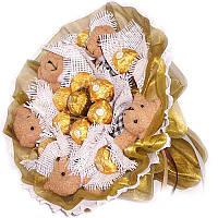 Букет из мягких игрушек Мишки коричневые 5 с конфетами Ферреро Роше