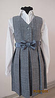 Платье-сарафан серый однотонный для девочки.