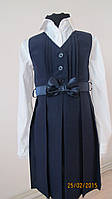 Платье-сарафан синий однотонный для девочки.